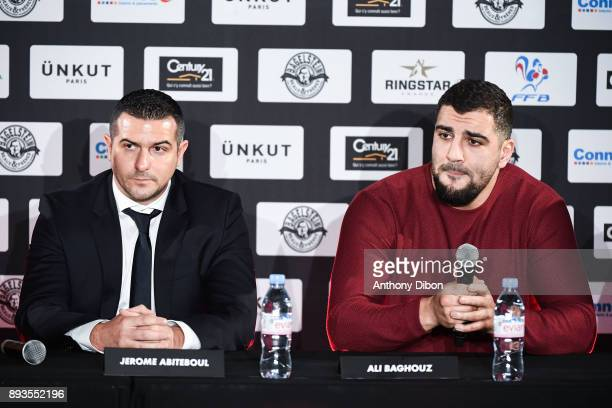 Jerome Abiteboul and Ali BAGHOUZ during press conference ahead the fight against Ali Baghouz on December 15 2017 in BoulogneBillancourt France