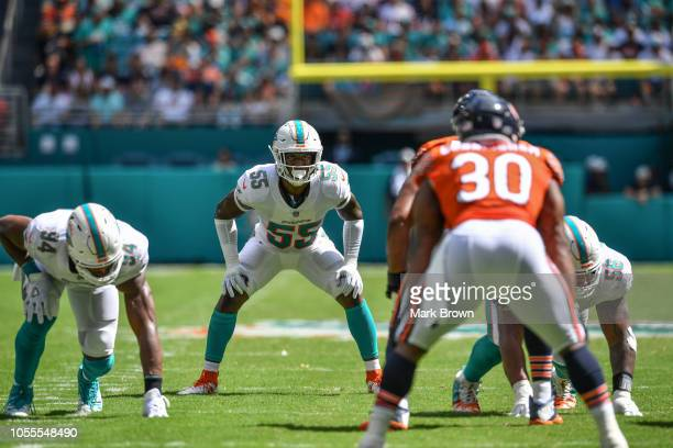 Jerome Baker of the Miami Dolphins in action against the Chicago Bears at Hard Rock Stadium on October 14 2018 in Miami Florida