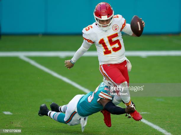 Jerome Baker of the Miami Dolphins sacks Patrick Mahomes of the Kansas City Chiefs during the first quarter of the game at Hard Rock Stadium on...
