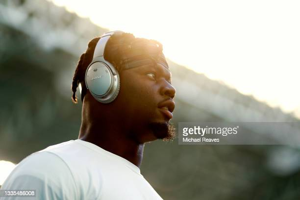 Jerome Baker of the Miami Dolphins warms up prior to the preseason game against the Atlanta Falcons at Hard Rock Stadium on August 21, 2021 in Miami...