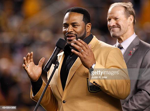 Jerome Bettis and Bill Cowher during half time on October 1, 2015 between the Baltimore Ravens and the Pittsburgh Steelers at Heinz Field in...
