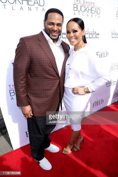 Jerome Bettis and wife Trameka Bettis attend the Off The Field Players' Wives Fashion Show at The Shops at Buckhead Atlanta on February 01 2019 in...