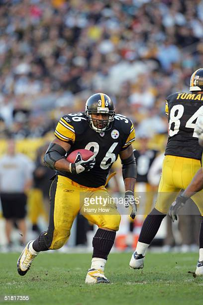 Jerome Bettis of the Pittsburgh Steelers carries the ball against the Philadelphia Eagles during the game at Heinz Field on November 7 2004 in...