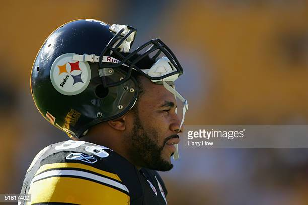 Jerome Bettis of the Pittsburgh Steelers watches the game against the Philadelphia Eagles at Heinz Field on November 7 2004 in Pittsburgh...