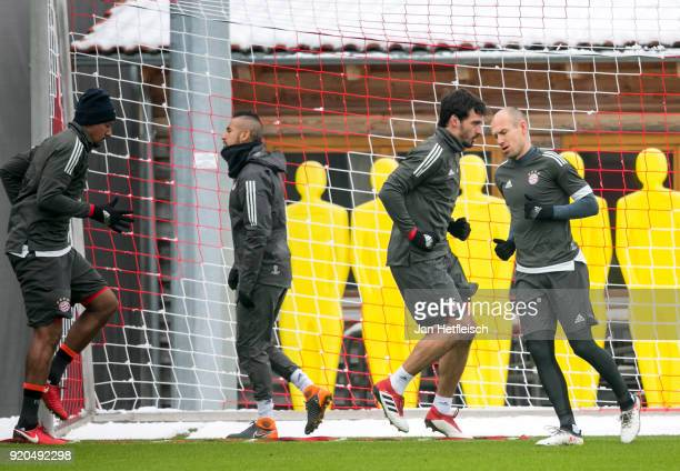 Jerome Boateng Arturo Vidal Mats Hummels and Arjen Robben of FC Bayern Muenchen during a training session ahead the champions league match between FC...