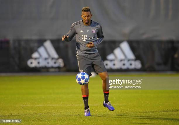 Jerome Boateng controsl the ball during a Bayern Muenchen training session at Saebener Strasse Training Ground on November 6 2018 in Munich Germany