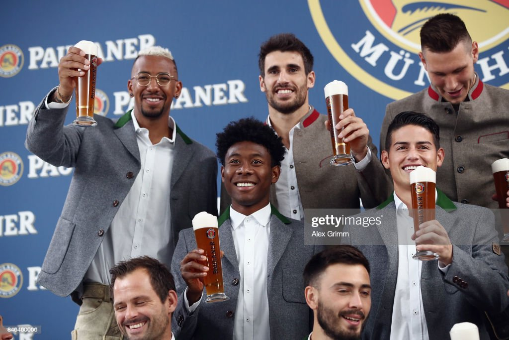 Jerome Boateng, Javi Martinez, Niklas Suele, David Alaba and James Rodriguez attend the FC Bayern Muenchen Paulaner photo shoot in traditional Bavarian lederhosen on September 13, 2017 in Munich, Germany.