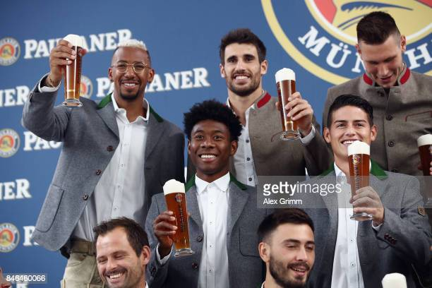 Jerome Boateng Javi Martinez Niklas Suele David Alaba and James Rodriguez attend the FC Bayern Muenchen Paulaner photo shoot in traditional Bavarian...