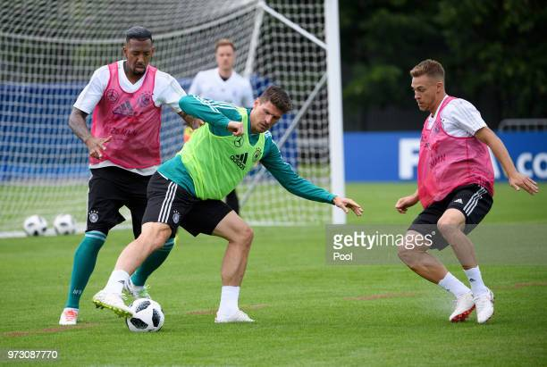 Jerome Boateng Mario Gomez and Joshua Kimmich of Germany during the Germany training session ahead of the 2018 FIFA World Cup at CSKA Sports Base on...