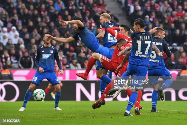 Jerome Boateng of Bayern Muenchen 3rd right about to score a goal to make it 22 during the Bundesliga match between FC Bayern Muenchen and TSG 1899...