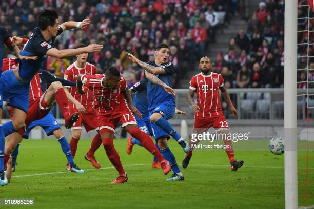 Jerome Boateng of Bayern Muenchen about to score a goal to make it 22 during the Bundesliga match between FC Bayern Muenchen and TSG 1899 Hoffenheim...