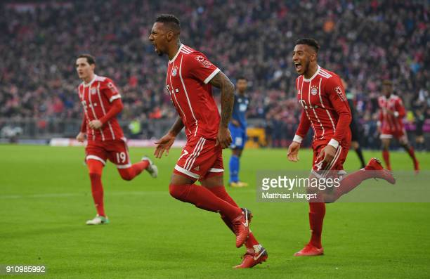 Jerome Boateng of Bayern Muenchen celebrates after he scored a goal to make it 22 during the Bundesliga match between FC Bayern Muenchen and TSG 1899...