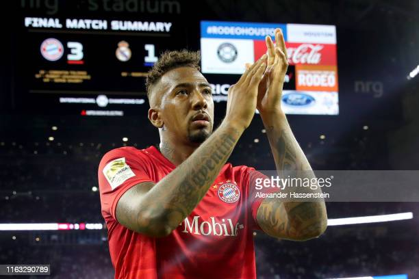 Jerome Boateng of Bayern Muenchen celebrates after the International Champions Cup match between Bayern Muenchen and Real Madrid in the 2019...
