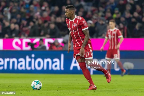 Jerome Boateng of Bayern Muenchen controls the ball during the Bundesliga match between FC Bayern Muenchen and FC Schalke 04 at Allianz Arena on...