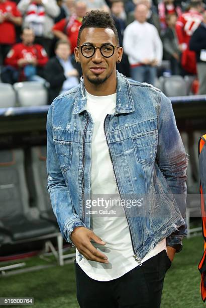 Jerome Boateng of Bayern Muenchen is interviewed on Sky before the UEFA Champions League quarter final first leg match between FC Bayern Muenchen and...