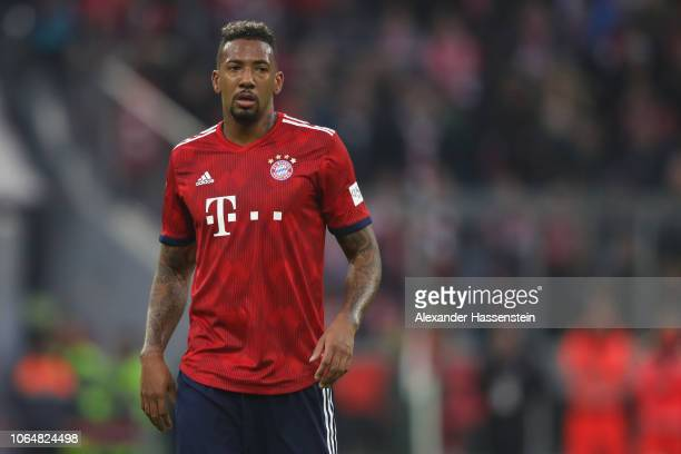 Jerome Boateng of Bayern Muenchen looks on during the Bundesliga match between FC Bayern Muenchen and Fortuna Duesseldorf at Allianz Arena on...
