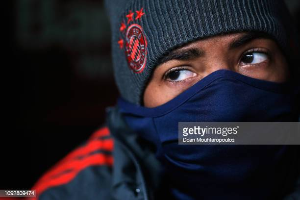 Jerome Boateng of Bayern Muenchen looks on prior to the Bundesliga match between Bayer 04 Leverkusen and FC Bayern Muenchen at BayArena on February 2...