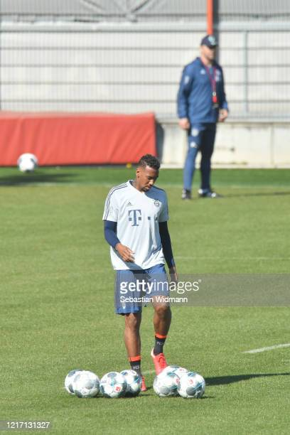 Jerome Boateng of Bayern Muenchen plays a ball during a training session at Saebener Strasse training ground on April 06 2020 in Munich Germany