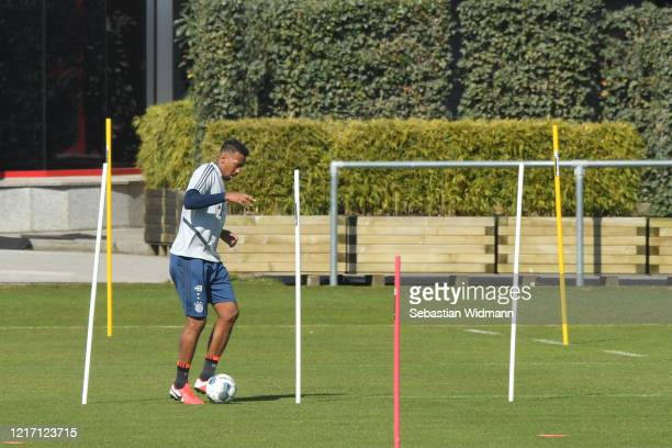 Jerome Boateng of Bayern Muenchen plays the ball during a training session at Saebener Strasse training ground on April 06 2020 in Munich Germany