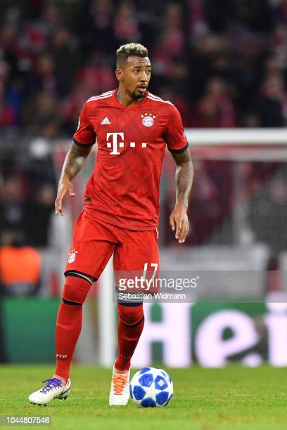 Jerome Boateng of Bayern Muenchen plays the ball during the Group E match of the UEFA Champions League between FC Bayern Muenchen and Ajax at Allianz...