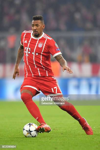 Jerome Boateng of Bayern Muenchen plays the ball during the UEFA Champions League Round of 16 First Leg match between Bayern Muenchen and Besiktas at...
