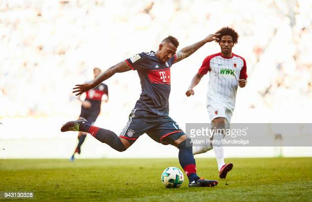 Jerome Boateng of Bayern Munich during the Bundesliga match between FC Augsburg and FC Bayern Muenchen at WWKArena on April 7 2018 in Augsburg Germany