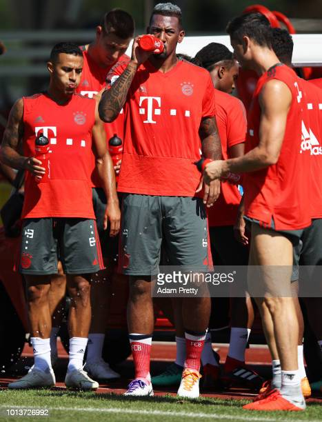 Jerome Boateng of Bayern Munich in action during FC Bayern Muenchen pre season training on August 9, 2018 in Rottach-Egern, Germany.