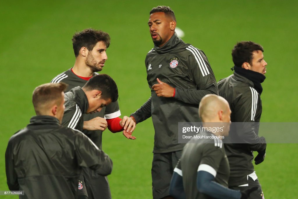 Jerome Boateng of Bayern Munich is pictured during the Bayern Muenchen Training session held at the Constant Vanden Stock Stadium on November 21, 2017 in Brussels, Belgium. R.S.C. Anderlecht will play Bayern Munich in their Group B, Champions League match on the 22nd of November, 2017.