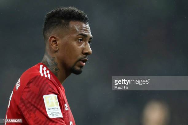 Jerome Boateng of Bayern Munich looks on during the Bundesliga match between Borussia Moenchengladbach and FC Bayern Muenchen at Borussia-Park on...