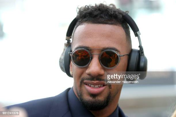 Jerome Boateng of FC Bayern Muenchen arrives at Munich international airport 'Franz Josef Strauss' prior their team flight for the UEFA Champions...