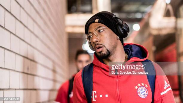 Jerome Boateng of FC Bayern Muenchen arrives with the bus prior to the Bundesliga match between RB Leipzig and FC Bayern Muenchen at Red Bull Arena...
