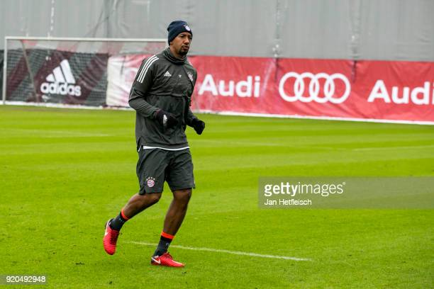 Jerome Boateng of FC Bayern Muenchen during a training session ahead the champions league match between FC Bayern Munich and Besiktas Istanbul on...