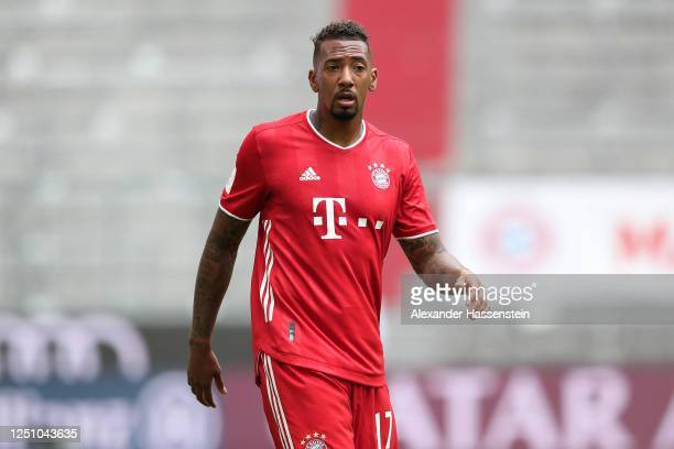Jerome Boateng of FC Bayern Muenchen looks on during the Bundesliga match between FC Bayern Muenchen and Sport-Club Freiburg at Allianz Arena on June...