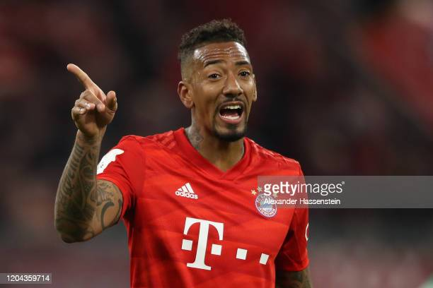 Jerome Boateng of FC Bayern Muenchen reacts during the DFB Cup round of sixteen match between FC Bayern Muenchen and TSG 1899 Hoffenheim at Allianz...