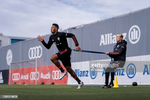 Jerome Boateng of FC Bayern Muenchen works out during an individual training session at Saebener Strasse training ground on November 12, 2020 in...