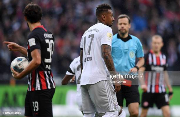 Jerome Boateng of FC Bayern Munich reacts after receiving a red card during the Bundesliga match between Eintracht Frankfurt and FC Bayern Muenchen...