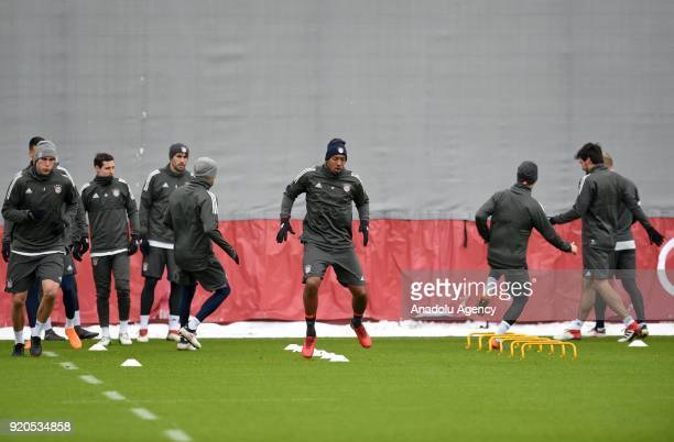 Jerome Boateng of German soccer club FC Bayern Munich attends a training session ahead of the round of 16 Champions League match between Bayern...