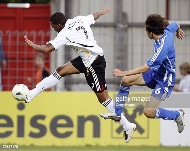 Jerome Boateng of Germany and George Siakas of Greece fight for the ball during the UEFA U19 European Championship match between Germany and Greece...