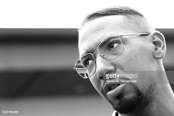 Jerome Boateng of Germany arrives for a Germany press conference at Ermitage Evian on June 30 2016 in EvianlesBains France