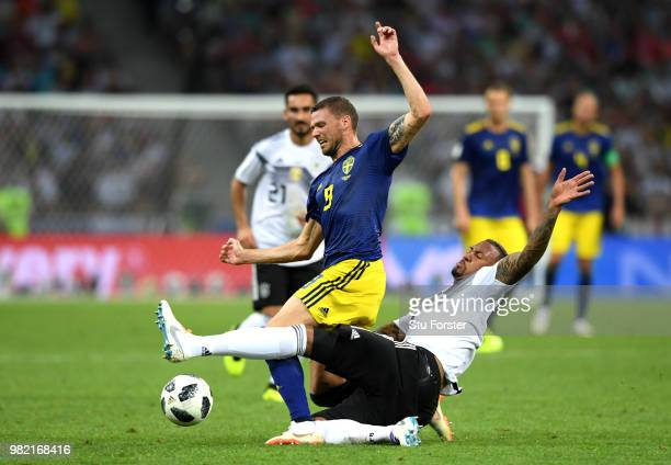 Jerome Boateng of Germany brings down Marcus Berg of Sweden to earn his second yellow card and be sent sent off during the 2018 FIFA World Cup Russia...