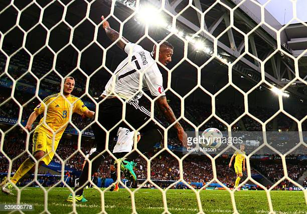 Jerome Boateng of Germany clears the ball off the goal line during the UEFA EURO 2016 Group C match between Germany and Ukraine at Stade PierreMauroy...