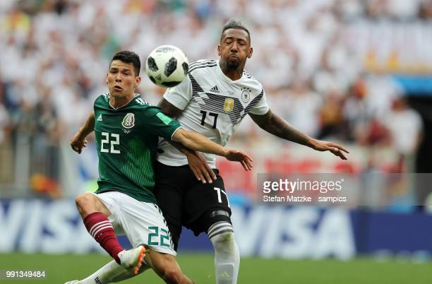 Jerome Boateng of Germany Hirving Lozano of Mexico during the 2018 FIFA World Cup Russia group F match between Germany and Mexico at Luzhniki Stadium...