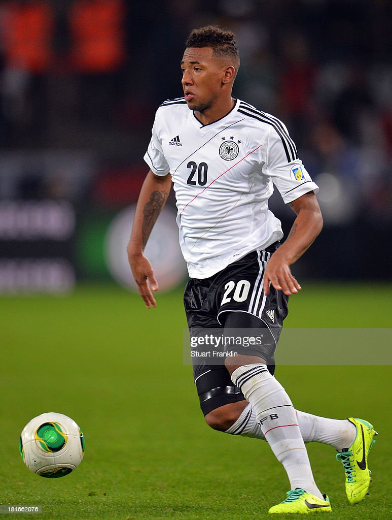 Jerome Boateng of Germany in action during the FIFA world Cup 2014 qualification match between Germany and Republic of Ireland at the Rheinenergy stadium on October 11, 2013 in Cologne, Germany.