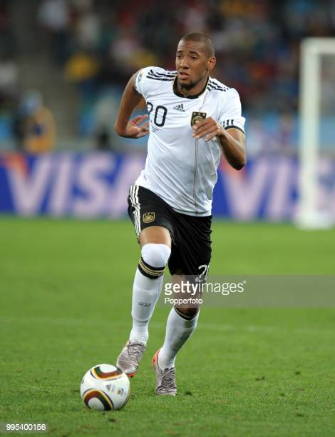 Jerome Boateng of Germany in action during the FIFA World Cup Semi Final between Germany and Spain at the Moses Mabhida Stadium on July 7 2010 in...