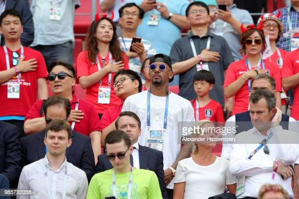 Jerome Boateng of Germany looks on during the 2018 FIFA World Cup Russia group F match between Korea Republic and Germany at Kazan Arena on June 27...