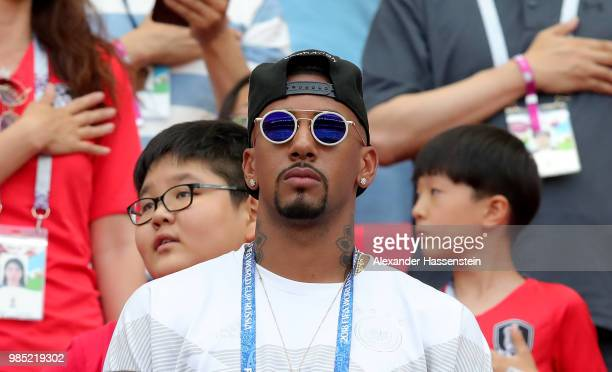 Jerome Boateng of Germany looks on from the stands serving a match suspension following a red card in a previous game prior to the 2018 FIFA World...