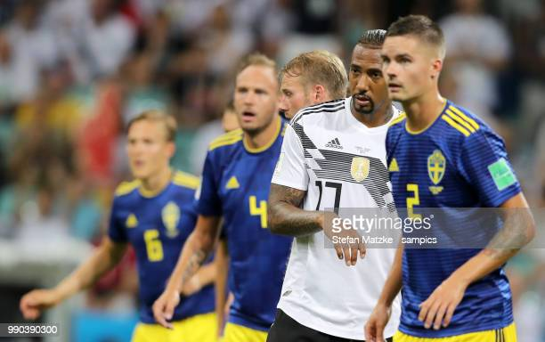 Jerome Boateng of Germany Mikael Lustig of Sweden during the 2018 FIFA World Cup Russia group F match between Germany and Sweden at Fisht Stadium on...