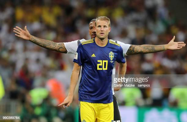 Jerome Boateng of Germany Ola Toivonen of Sweden during the 2018 FIFA World Cup Russia group F match between Germany and Sweden at Fisht Stadium on...