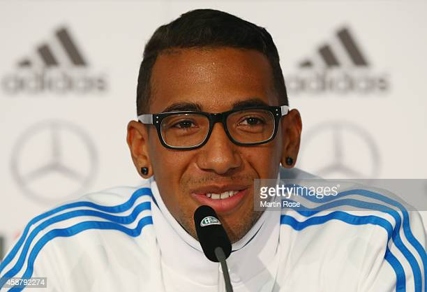 Jerome Boateng of Germany reacts during a press conference ahead of their EURO 2016 Group D qualifying match against Gibraltar on November 11 2014 in...