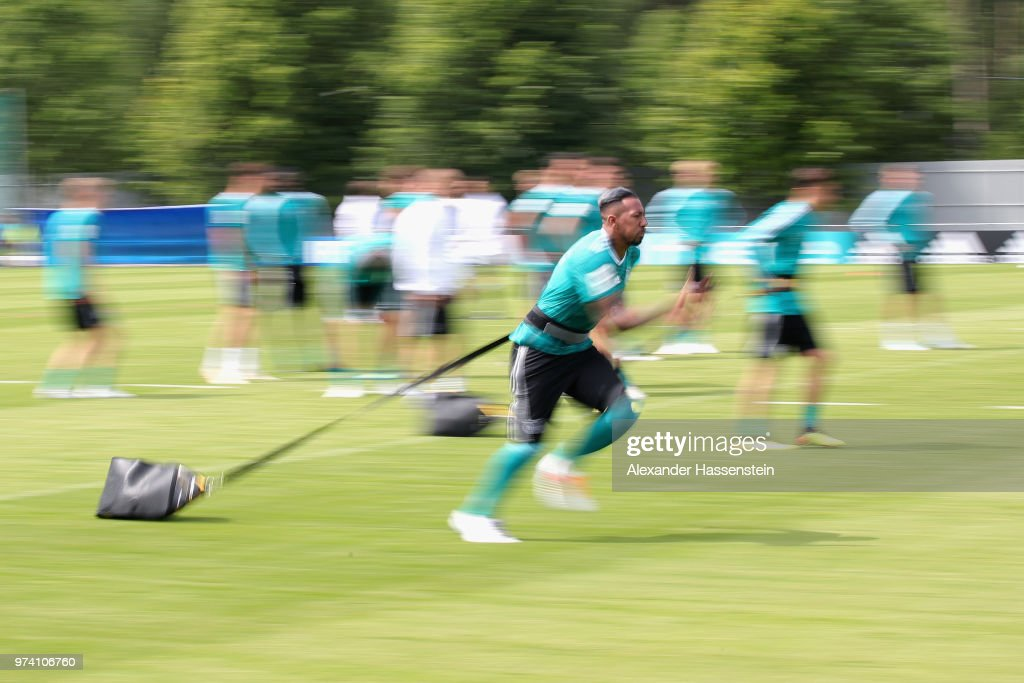 Jerome Boateng of Germany runs during the Germany training session ahead of the 2018 FIFA World Cup at CSKA Sports Base on June 14, 2018 in Moscow, Russia.